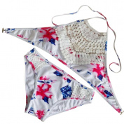 Paymenow Women Lace Swimsuit Bathing Sexy Floral Padded Bikini Set Swimwear