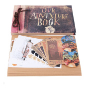 """Our Adventure Book Scrapbook Photo Album 11.6""""x7.5"""" inches 40 Sheets with 10 sheets Refill Pages 5 Postcards and 2 Photo Corner Stickers"""