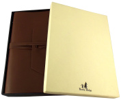 Large Genuine Leather Expedition Journal / Sketchbook with Gift Box - 380 Pages - 23cm x 30cm - Vintage Style - Dark Brown