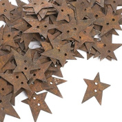 Factory Direct Craft 100 Primitive Rusty Tin Star Buttons for Crafting and Designing