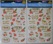 """2 Packs """"You & Me, Friends Forever' Themed Glitter Accented Stickers"""