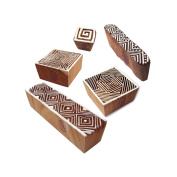 Asian Shapes Geometric and Chevron Wooden Stamps for Printing