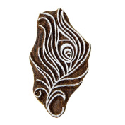 Peacock Feather Handmade Wooden Textile Printing Block Clay Potter Craft Heena Tattoo Scrapbook Stamps