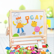 Wooden Drawing Board Magnetic Double-sided Art Easel Chalks & Bottom with Accessories Tray Learning Play for Toddlers!
