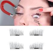 Promisen 4PCS Magnetic Eye Lashes Ultra-thin 0.5mm 3D False Eyelashes Reusable Magnetic Eye Lashes