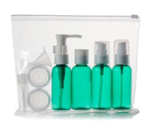 1Sets 9pcs Green Empty Portable Plastic Travelling Makeup Cosmetic Toiletries Liquid Cream Makeup Water Sample Bottles Containers Jar Pot Case Mask Spoon Funnel Dropper With Zipper Bag For Travel