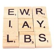 Aquiver 100pcs Polished Wooden Scrabble Tiles Letter Alphabet Scrabble Game Toys Number