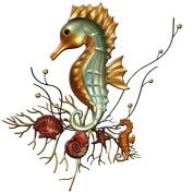 Carrick Design Metal Wall Art Seahorse, multicolour, 47 x 52 cm