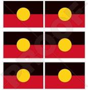 "AUSTRALIA ABORIGINAL Flag, Australian 40mm (1,6"") Mobile Cell Phone Vinyl Mini Stickers, Decals x6"