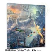Thomas Kinkade Tinker Bell and Peter Pan 14 x 14 Canvas Wrap