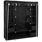 Large Black Fabric Canvas Bedroom Wardrobe With Hanging Rail Shelving Clothes Storage Cupboard Unit
