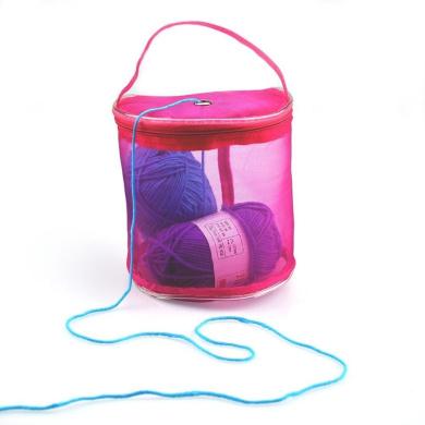 Sinfu Storage Bag Mesh Bag Portable Yarn Crochet Thread Organiser Tote (Hot Pink)
