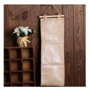 S Kaiko Cotton Linen Hanging Organiser Hanging Storage Bags Wall Door Closet Wall Pockets Fabric Wall Organiser 3 Wall Pockets for Jewellery Nursery