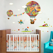 Witkey Cartoon Fire Balloon Wall Stickers Home Decals for Home Kids' Room Kindergarten Wall Arts Home Decoration