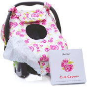 "Sho Cute - [Reversible] Carseat Canopy | All Season Baby Car Seat Covers for Girls |""Rose Lux"" Pink & Grey Floral 