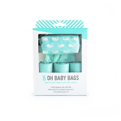 Oh Baby Bags Nappy Bag Clip-On Dispenser Gift Box with Disposable Bags for Dirty Nappies - Recycled Plastic - Seafoam with Whales Duffle plus 48 Seaspray Scented Bags