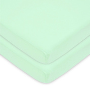 American Baby Company 100% Cotton Value Jersey Knit Fitted 2 Piece Portable/Mini Crib Sheet, Mint