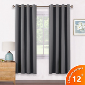 Thermal Insulated Eyelet Blackout Curtains - PONY DANCE Short Blackout Curtains Short Curtains Draperies for Living Room Bay Window / Windows Treatment, 2 Pcs, 140cm x 180cm Each Panel, Grey