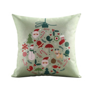 SESO UK- Cartoon Christmas Element Cotton And Linen Pillow Sofa Office Model Cushion Room Decoration (18 * 18 Inches, 45 * 45 Cm)
