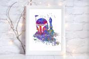 boba fett star wars gift a4 glossy print poster UNFRAMED picture nursery gift watercolour paint splatter