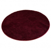 FLORATA Rug Shaggy Area Round Carpet Anti-skid Soft Touch Living Room,80CM X 80CM, Wine Red