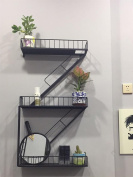 Wall decoration frame Wall Decoration LOFT Retro Iron Industrial Staircase Iron Shelf Dividers Shelves accessories