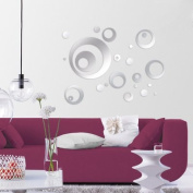 A-goo Background Wall Stickers Mirror Circle Living Room Wall Stickers 3D wall Stickers