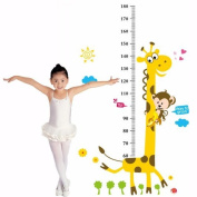 LanLan Giraffe and Monkey Kids height growth chart nursery wall decor removable decal baby bedroom sticker