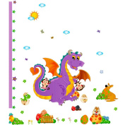 Cute Animals Height Growth Chart Wall Sticker Decal Paper for Nursery Kids Room Classroom
