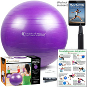 Exercise Ball for Yoga, Pilates, Therapy, Balance, Stability, Posture Support, Desk Chair and Birthing | Anti Burst, Non Slip Design | Workout Guide + eBook | Multiple Sizes