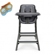 4moms High Chair, Black/Grey With Divided Feeding Bowl