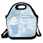 QIFAN Lunch Bags I'm A Little Twisted Tote Bags Fast Food Packaging For Men Women Girls Boys