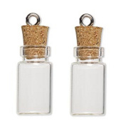 LEFV™ 50 Mini Glass Bottles 2.5cm Message Treasure Charm Pendant Kit Makes Bottle Pendants 1ml Clear Vials with Corks & 50pcs Eye Screws - Miniature Empty Sample Jars