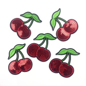 Yalulu 10Pcs 6.57.5CM Cherry Sequins Embroidered Iron On / Sew On Badge Applique Patch For Clothing
