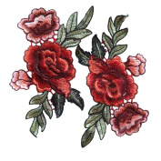 Red Rose Flowers Patch Embroidered Floral Applique Sew on Patches For Lace Fabric Clothes DIY Craft Supply