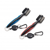 Pack of 2 Golf Club Brush Groove Cleaner with Retractable Zip-line and Aluminium Carabiner Cleaning Tools