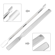 IBEET Stainless Steel Cuticle Pusher with Spoon and Triple Cut Nail File Set