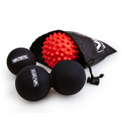 Massage Ball Set by VIA FORTIS | Combination of a Lacrosse Ball, a Peanut Roller and a Spiky Ball for an Efficient Myofascial Trigger Points Release | For Your Feet, Neck, Back, Calves and Much More