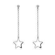 Lingduan 925 Sterling Silver Hollow Long Five-pointed Star Pentagram Jewellery Dangle Drop Earrings
