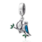 925 Sterling Silver Love Bird Charm Wife Husband Charm Pet Charm Anniversary Charm Valentine Charm for Pandora Charms Bracelet