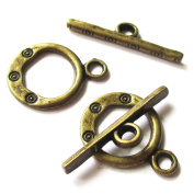 Heather's cf 71 Pieces Brass Tone Pattern Clasp Toggle Findings Jewellery Making 17X13/22X5mm