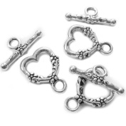 Heather's cf 34 Pieces Silver Tone Pattern Heart Clasp Toggle Findings Jewellery Making 18X14/20X8mm