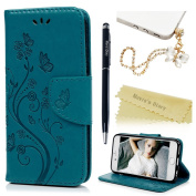 iPhone 6 Plus Case(5.5),iPhone 6S Plus Case(5.5),Mavis's Diary Embossed PU Leather Protective Wallet Case with TPU Inner Bumper Magnetic Card Slot Flip Cover with Dust Plug & Pen - Blue Butterfly