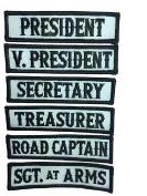 Officer Title Rank Vest Patches President VP MC Biker club Patch Set