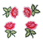 Jili Online 4 Pieces Rose Flower Embroidery Sewing Trim Applique Patch Iron on Sewing on Clothes Dress for Decoration