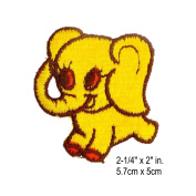 Yellow Baby Elephant Embroidery Applique Vintage Sewing Patch per piece