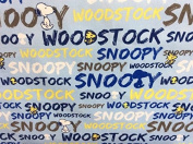 1 Yard - Peanuts Snoopy and Woodstock Word Stripe on Blue Cotton Fabric - Officially Licenced (Great for Quilting, Sewing, Craft Projects, Throw Pillows, Quilts & More) 1 Yard X 110cm