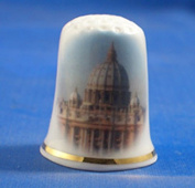 Porcelain China Collectable Thimble - Vatican City Rome with Free Gift Box