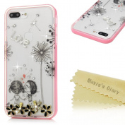 iPhone 7 Plus Case(5.5),Mavis's Diary 3D Handmade Bling Crystal Rhinestone Diamonds Dandelion Lovers Flowers Flexible Shockproof Protective Transparent Soft TPU Rubber Case with Hard PC Frame