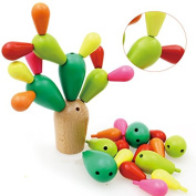 FULLIN Colourful Wooden Cactus Cute Wooden Balancing Cactus Educational Toys Disassembly Assembly Building Block Cactus Toy Plants Tree Toy Set Home Decoration Toys Gift